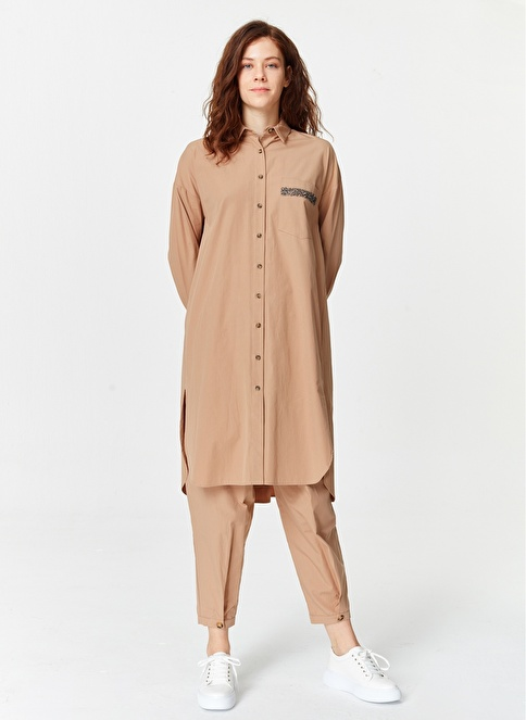 Mizalle Yanı Yırtmaçlı Cep Detaylı Tunik  Camel
